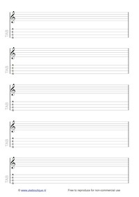 Blank ukulele manuscript paper with stave and TAB - Uke Boutique
