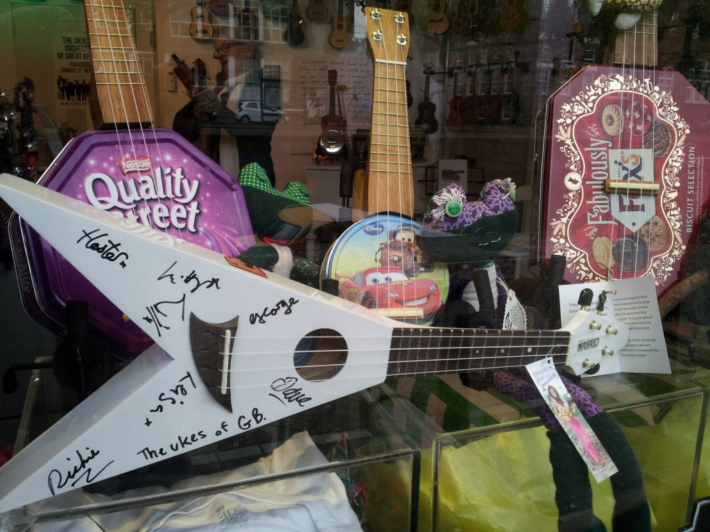 Our Flying V, signed by the Ukulele Orchestra of Great Britain!